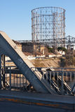 Gasometer in rome. View of the gasometro, gasometer in rome from the nearly bridge ponte dellindustria Stock Photography