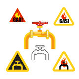 Gasoptics. Gasification, warning signs Royalty Free Stock Images