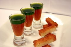 Gaspacho and basil oil 3 royalty free stock images
