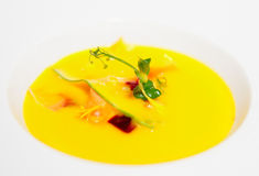 Gaspacho (cold summer soup) in porcelain plate Royalty Free Stock Image