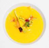 Gaspacho (cold summer soup) in porcelain plate Stock Photos