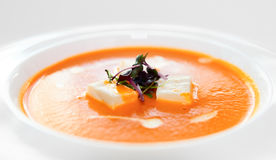 Gaspacho (cold summer soup) in porcelain plate Stock Images