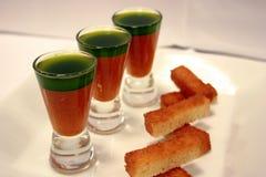 Gaspacho e petróleo de manjericão 3 Imagens de Stock Royalty Free