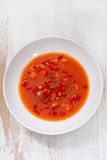 Gaspacho on plate on white background Royalty Free Stock Images