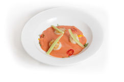Gaspacho with scallop Stock Images