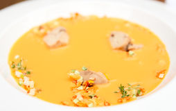 Gaspacho soup with cod liver Stock Images