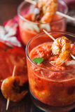 Gaspacho soup with grilled shrimps Royalty Free Stock Images