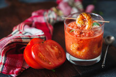 Gaspacho soup with grilled shrimps Stock Image