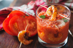 Gaspacho soup with grilled shrimps Royalty Free Stock Photography