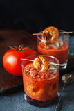 Gaspacho soup with grilled shrimps Royalty Free Stock Image