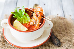 Gaspacho soup with grilled shrimps Stock Photo