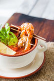 Gaspacho soup with grilled shrimps Stock Photography