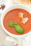 Gaspacho in white bowl Royalty Free Stock Images