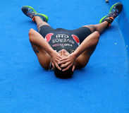 Gaspar Riveros exhausted after race Stock Photography