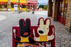 Gaspard et Lisa theme park, Fujikyu Highland. Yamanashi, Japan - May 01, 2017: Dining banner at Gaspard et Lisa theme park at Fujikyu Highland amusement park stock photo