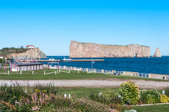 Gaspe Perce Rock and promenade Stock Photo