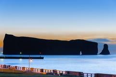 Gaspe Perce Rock silhouette Stock Image