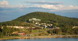Bird eyes view of Gaspe city royalty free stock photo