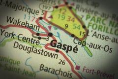 Gaspe, Quebec op kaart Royalty-vrije Stock Foto's