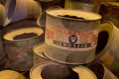 Gaspesticide bij Auschwitz-concentratiekamp stock foto