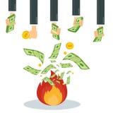 Gaspillage de l'argent dans le feu illustration stock