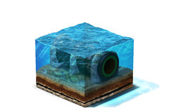 Gaspipeline sous l'eau au fond illustration de vecteur