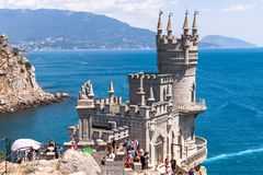 Gaspra, Crimea - July 7. 2019. Castle of Swallows Nest on the Cape Ai-Todor of Black Sea coast stock photo