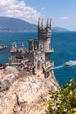 Gaspra, Crimea - July 7. 2019. Castle of Swallows Nest on the Cape Ai-Todor of Black Sea coast stock images