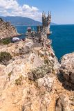 Gaspra, Crimea - July 7. 2019. Castle of Swallows Nest on the Cape Ai-Todor of Black Sea coast royalty free stock photo