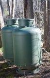 Gaspropanbehållare för energivärmesimbassäng Arkivfoto