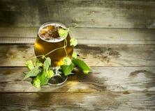 Gass av kallt öl med flygturer Royaltyfri Foto