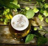 Gass av kallt öl med flygturer fotografering för bildbyråer
