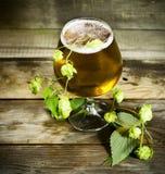 Gass av kallt öl med flygturer Royaltyfria Bilder