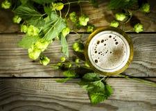 Gass de la cerveza fría con los saltos Imágenes de archivo libres de regalías