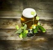 Gass de la cerveza fría con los saltos Fotografía de archivo