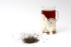 Gass of tea in the glass-holder Royalty Free Stock Photos