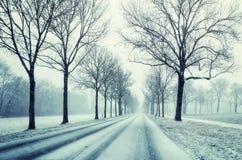 Gasse im Winter unter Schneesturm, bayerische Landschaft Stockfotografie
