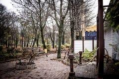 Gasse mit Bänke in dendro Park in Kropyvnytskyi, Ukraine Stockfoto