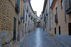 Gasse in Segovia Spanien Stockbild