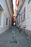 Gasse von Ljubljana Stockfoto