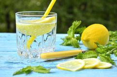 Gassed water with lemon. Stock Image