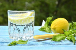 Gassed water with lemon. Royalty Free Stock Images