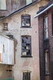 Gassendetail an den alten Mühlen von Rockville, Connecticut Lizenzfreie Stockbilder