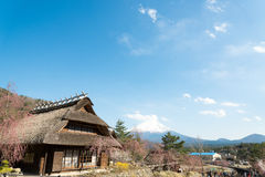 Gassho House with Mount Fuji at Iyashi-no-Sato Village Stock Images