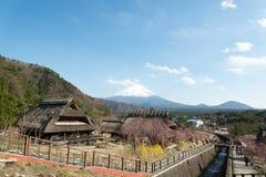 Gassho House with Mount Fuji at Iyashi-no-Sato Village Royalty Free Stock Photography