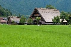 Gassho-zukuri日本房子,白川町去,日本 免版税图库摄影