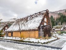 Shirakawa village in Gifu, Japan. Gassho-zukuri unique architecture house in Shirakawa village, the UNESCO world heritage place, with snow in early winter season Stock Images