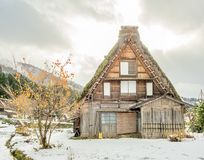 Shirakawa village in Gifu, Japan. Gassho-zukuri unique architecture house in Shirakawa village, the UNESCO world heritage place, with snow in early winter season Royalty Free Stock Photos
