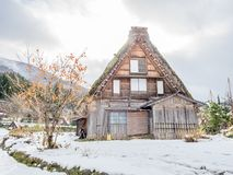 Shirakawa village in Gifu, Japan. Gassho-zukuri unique architecture house in Shirakawa village, the UNESCO world heritage place, with snow in early winter season Royalty Free Stock Photography