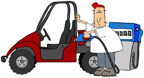 Gassing Up A UTV. This illustration depicts a man putting gas into his red side by side all terrain vehicle Stock Images